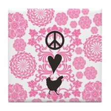 Peace, Love And Chickens Tile Coaster