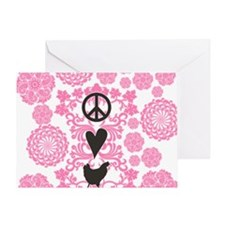 Peace, Love And Chickens Greeting Card