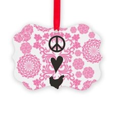 Peace, Love And Chickens Ornament
