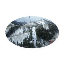 Mountain Gondola Ride Oval Car Magnet