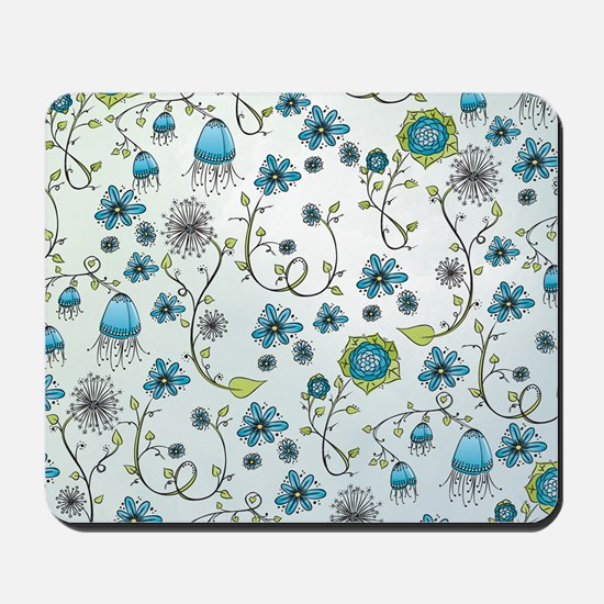 Whimsical blue flowers on blue Mousepad