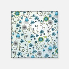 "Whimsical blue flowers on b Square Sticker 3"" x 3"""