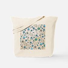 Whimsical blue flowers on beige Tote Bag