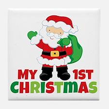 Santa Babies 1st Christmas Tile Coaster