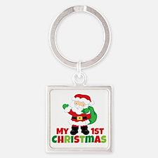 Santa Babies 1st Christmas Square Keychain