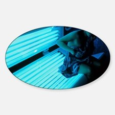 Woman getting off a sunbed Decal