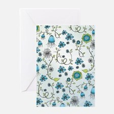 Whimsical blue flowers on blue Greeting Card