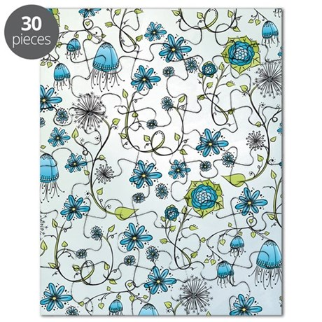 Whimsical blue flowers on blue Puzzle