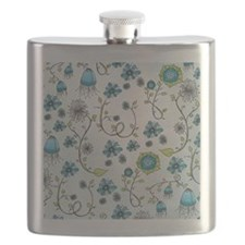 Whimsical blue flowers on blue Flask
