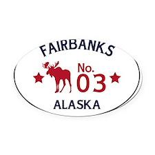 Fairbanks Moose Badge Oval Car Magnet