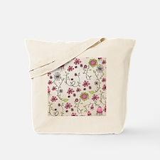 Whimsical pink flowers on beige Tote Bag