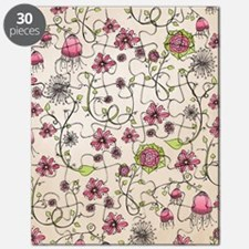 Whimsical pink flowers on beige Puzzle