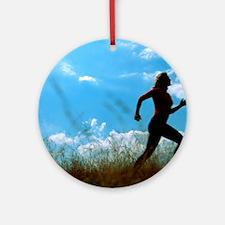 Woman jogging Round Ornament