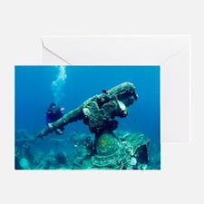 Diver with sunken gun Greeting Card