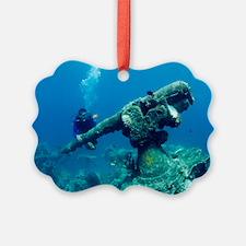 Diver with sunken gun Ornament