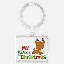 Reindeer Babies 1st Christmas Landscape Keychain