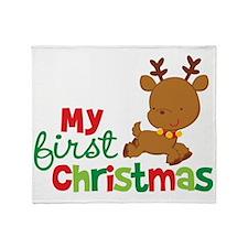 Reindeer Babies 1st Christmas Throw Blanket