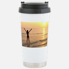 Woman standing in the s Travel Mug