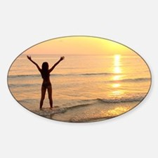 Woman standing in the sea Decal