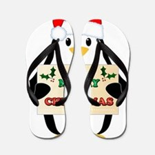 Christmas Penguin Flip Flops