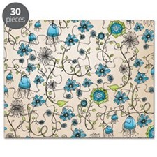 Whimsical blue flowers on beige Puzzle