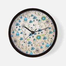 Whimsical blue flowers on beige Wall Clock