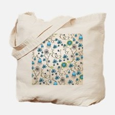 Whimsical blue flowers on beige Tote Bag