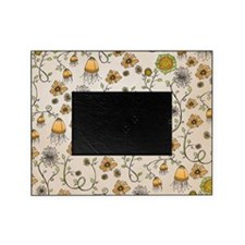 Whimsical yellow flowers on beige Picture Frame