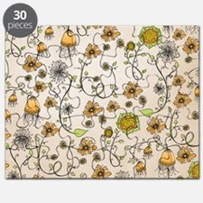 Whimsical yellow flowers on beige Puzzle