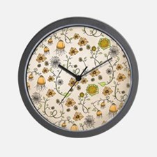 Whimsical yellow flowers on beige Wall Clock