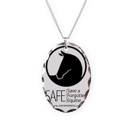 SAFE Logo Vertical Black URL Necklace Oval Charm