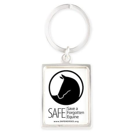 SAFE Logo Vertical Black URL Portrait Keychain