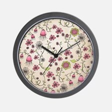 Whimsical pink flowers on beige Wall Clock