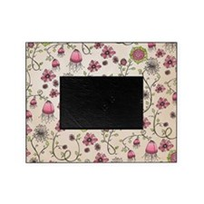 Whimsical pink flowers on beige Picture Frame