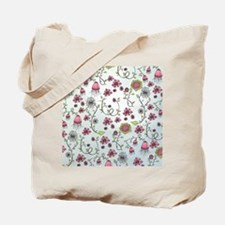 Whimsical pink flowers on blue Tote Bag