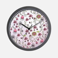 Whimsical pink flowers on pink Wall Clock