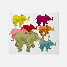 Elephant Herd Throw Blanket