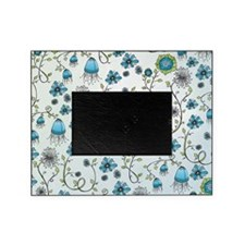 Whimsical blue flowers on blue Picture Frame