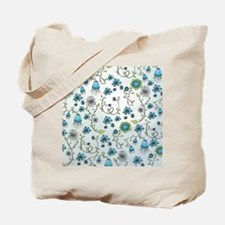 Whimsical blue flowers on blue Tote Bag