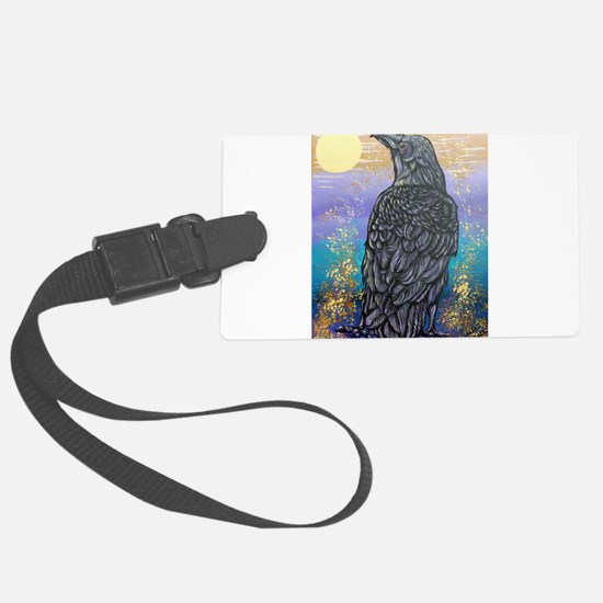 Raven in the Moonlight Luggage Tag
