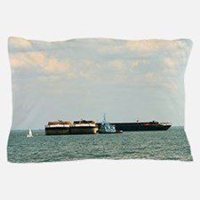 Tugboat with barges and sailboat Pillow Case