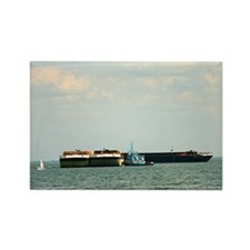 Tugboat with barges and sailboat Rectangle Magnet
