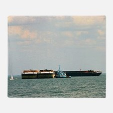 Tugboat with barges and sailboat Throw Blanket