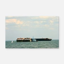 Tugboat with barges and sailb Rectangle Car Magnet