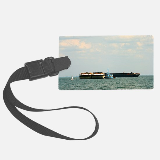 Tugboat with barges and sailboat Luggage Tag