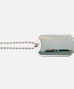 Tugboat with barges and sailboat Dog Tags