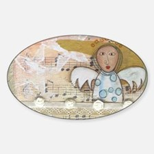 Cute Angel Music Collage Sticker (Oval)