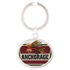 Anchorage Fishing Fly Patch Oval Keychain