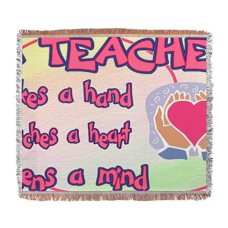 TEACHER HEART SIGN Woven Blanket