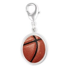 Basketball Silver Oval Charm